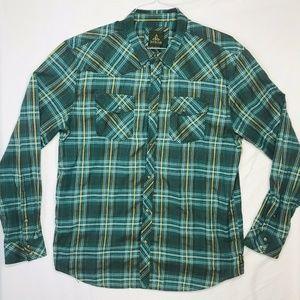 Prana 100% Organic Cotton Mens XL Snap Plaid Shirt